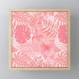 Living Coral Tropical Palm Jungle Framed Mini Art Print