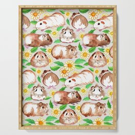 Guinea Pigs and Daisies in Watercolor Serving Tray