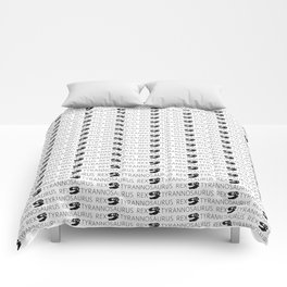 T-Rex Pattern (Black & White) Comforters
