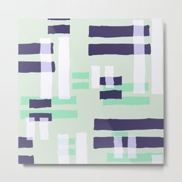 Abstract navy blue turquoise white geometric brushstrokes Metal Print