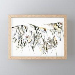 Fish Zebra Design, Angelfish aquarium design, underwater scene, black and white Framed Mini Art Print