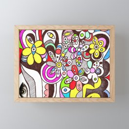 Human flourishing (flowers texture) Framed Mini Art Print