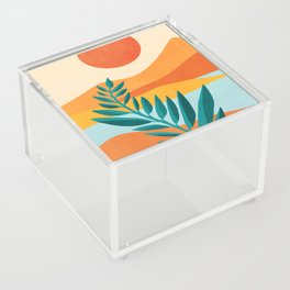 Mountain Sunset / Abstract Landscape Illustration Acrylic Box