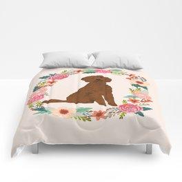 golden doodle dog floral wreath dog gifts pet portraits Comforters