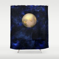 rothko Shower Curtains featuring Hello Pluto! by Klara Acel