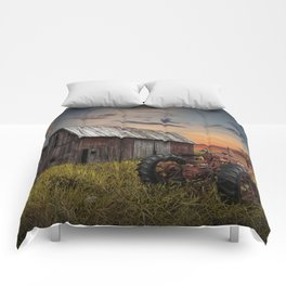Abandoned Farmall Tractor and Barn Comforters