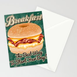 Retro Breakfast Sandwich Sign Stationery Cards