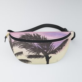 Palm Trees Sunset Watercolor Painting Fanny Pack