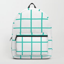GRID DESIGN (TURQUOISE-WHITE) Backpack