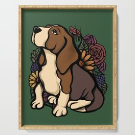 Floral Beagle Serving Tray