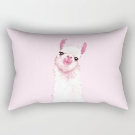 Llama Pink Rectangular Pillow