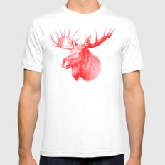 Moose red MEDIUM White Mens Fitted Tee