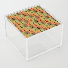 Mid Century Modern Retro Atomic Cats on Brown Orange and Avocado Green Acrylic Box