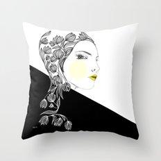 yellow kiss Throw Pillow