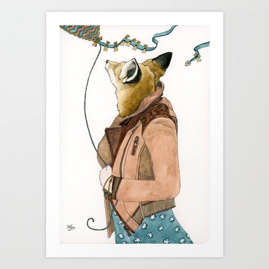 Fox and a Kite Art Print