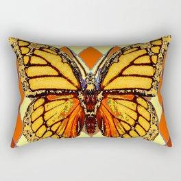 MONARCHS BUTTERFLY  &  ORANGE-BROWN HARLEQUIN PATTERN Rectangular Pillow