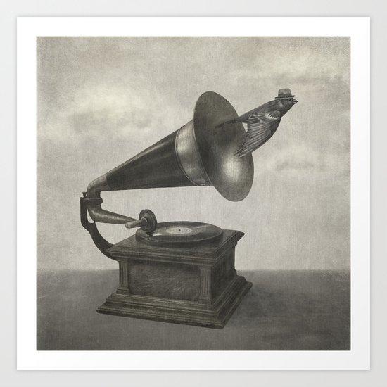 Vintage Songbird (mono)  Art Print