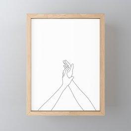 Hands line drawing illustration - Mandy Framed Mini Art Print