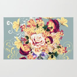 Roses and lilac. Beautiful victorian design Rug