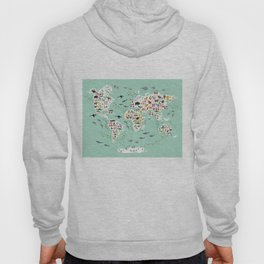 Cartoon animal world map for children and kids, back to schhool. Animals from all over the world Hoody