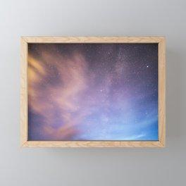 Pink Blue Glitter Galaxy Framed Mini Art Print
