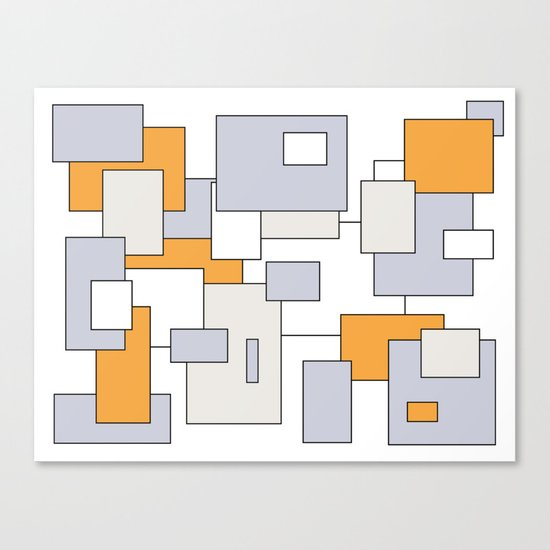 Squares - orange, gray and white. Canvas Print