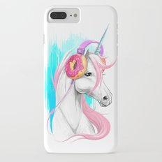 Unicorn in the headphones of donuts Slim Case iPhone 7 Plus