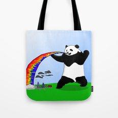 Panda Spitting Rainbow Tote Bag