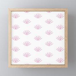 Light Pink Evil Eye Pattern Framed Mini Art Print