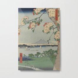 Cherry Blossoms on Spring River Ukiyo-e Japanese Art Metal Print