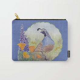 California Quail with Poppies and Lupine on Blue Carry-All Pouch