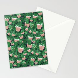 Potted Plant Indoor Jungle Seamless Pattern Stationery Cards