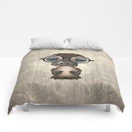 Cute Nerdy Platypus Wearing Glasses Comforters