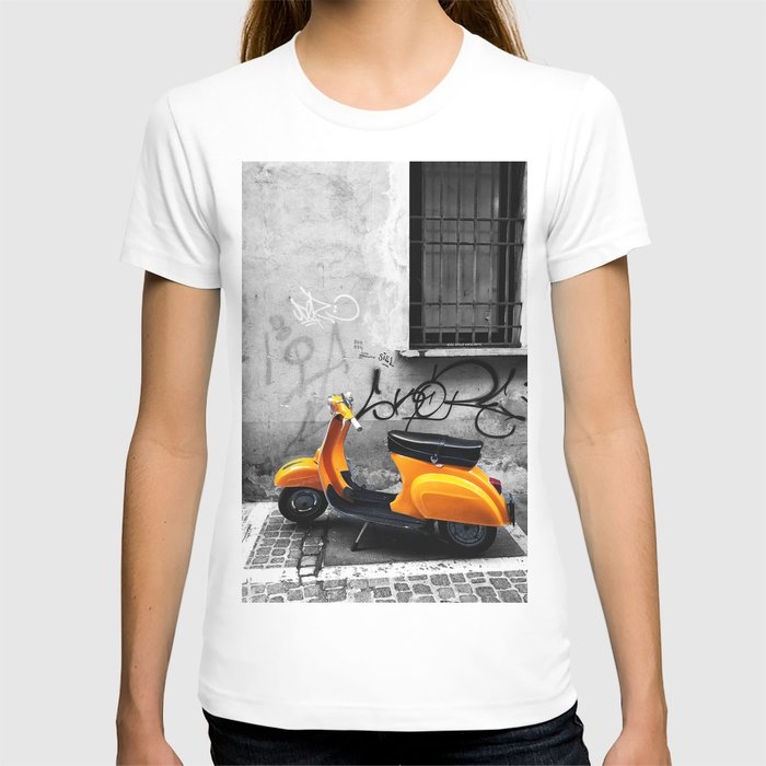 Orange Vespa in Bologna Black and White Photography T-shirt