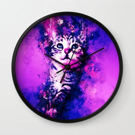 pianca baby cat kitten splatter watercolor purple pink Wall Clock