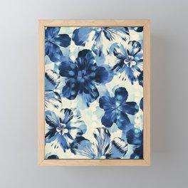 Shibori Inspired Oversized Indigo Floral Framed Mini Art Print