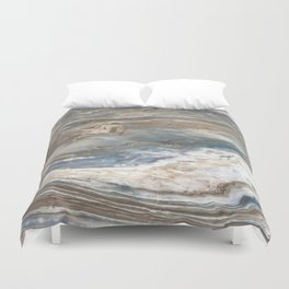 Pearly Blue Swirl Marble Duvet Cover