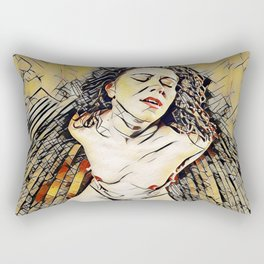 6151s-KD Red Lips in Mirror Erotic Art in the style of Wassily Kandinsky Rectangular Pillow