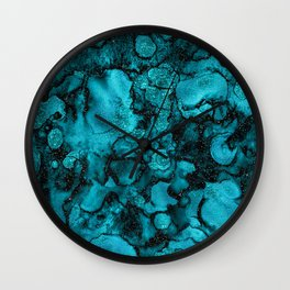 Blue Gemstone and Ink Malachite Glitter Marble Wall Clock