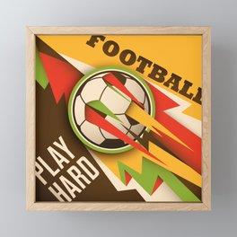 Fire Football Soccer Sport Ball Framed Mini Art Print