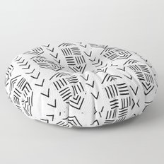 mudcloth 7 minimal textured black and white pattern home decor minimalist Floor Pillow