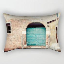 Turquoise Door in Venice Rectangular Pillow