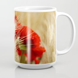 Field of golden wheat with red poppy flowers Coffee Mug