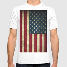 American Flag  MEDIUM Mens Fitted Tee White