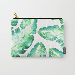 Green & White Tropical Leaves Carry-All Pouch
