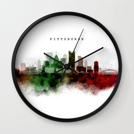 Pittsburgh Watercolor Skyline Wall Clock