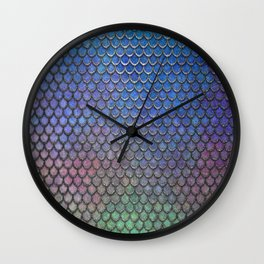 Colorful Silver II Mermaid Scales Wall Clock