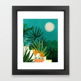Tropical Moonlight / Tropical Night Series #1 Framed Art Print