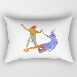 Women soccer players 02 in watercolor Rectangular Pillow