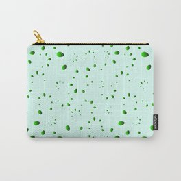 A lot of drops and petals on a green background in nacre. Carry-All Pouch